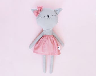 Benita // handmade kitty doll // red dress // gifts for kids // softie - plushie // kids room decoration
