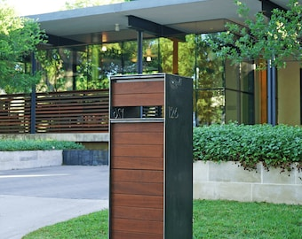 Stratford Parcel Mailbox (Steel + Ipe Wood) - Curbside Modern Metal Letter Box
