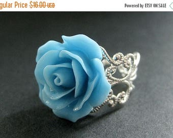 SUMMER SALE Baby Blue Rose Ring. Sky Blue Flower Ring. Filigree Adjustable Ring. Flower Jewelry. Handmade Jewelry.