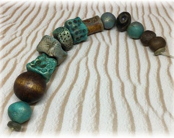 13 TEAL and BROWN Artisan Rustic Organic Handmade Ceramic, Agate, Bone, Glass and Wood Beads for Jewelry