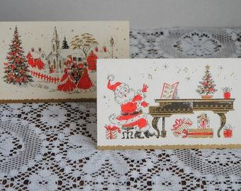 Vintage Christmas Greeting Cards Santa and Caroling The Coronation Collection Set of 2