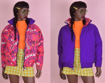 90s Reversible Floral Print Puffy Ski Jacket/ Small/ 1990s