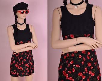 90s Black Ribbed Knit Floral Print Dress/ Small/ 1990s/ Tank/ Sleeveless
