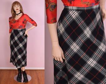 90s Plaid Skirt/ US 14/ 30-33 Waist/ 1990s
