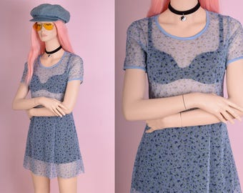 90s Floral Print Mesh Mini Dress/ Medium/ 1990s/ Short Sleeve