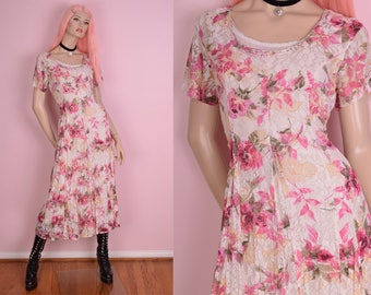 90s Floral Lace Maxi Dress/ Small/ 1990s/ Short Sleeve