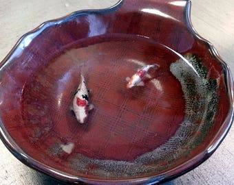 Rich Red and Grey Japanese Ceramic Bowl Koi Fish Pond