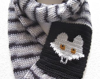 Gray Fox Infinity Scarf. Black and grey striped, knitted scarf with a silver fox. Long knit cowl scarves. Fox knit scarf