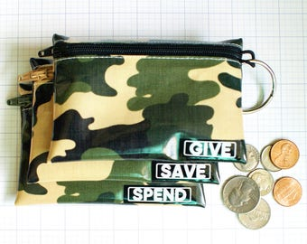 Camouflage Spend Save Give cash envelope system for kids