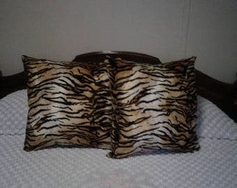 Faux Fur Handmade Bengal Tiger Print Throw Pillows Set of 2, 20 x 20 Decorative, Couch Pillows,  Living Room, Bed Room Great Gift