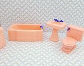 Renwal Sink Tub Hamper Toilet  Doll House Toy Bathroom Hard Plastic Pink