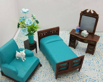 Renwal Bedroom Vanity Dresser  Bed  Night stand Arm Chair  Doll House Toy  miniature Bedroom hard plastic