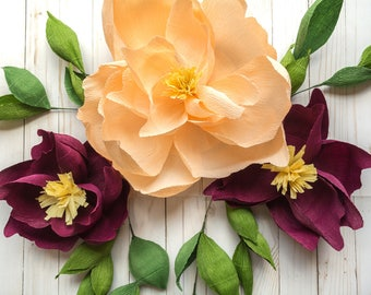 Set of 3 Crepe Paper Magnolias with Greenery