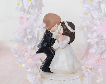 Vintage Wedding Cake Topper - Brunette Child Bride & Groom with Blush Pink and White Flowers