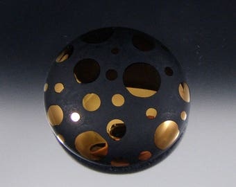 Golden Polka - Handmade Lampwork Cabochon - Gold Fumed Modern Focal Piece - by That Bead Girl