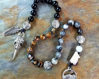 Raven and the Wolf Pagan Prayer Beads, Meditation Beads, Witches Ladder, Pagan Rosary, Pagan Mala Beads, Raven Prayer Beads