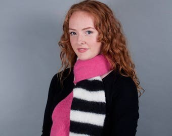 Colorblock Scarf // Felted Merino Wool // Black and White Stripes // Gifts for her // Boiled Wool // Hot pink // Teal // Green // Yellow