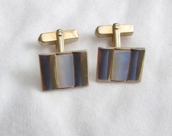 Fancy VINTAGE Swank Mother of Pearl and Gold Cufflinks Cuff links,  Mens Attire, Groom, Mad Men, Wedding, Prom, Dress shirt,
