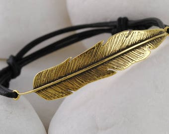 Feather Gold Plated Solid Sterling Silver Real Leather Bracelet - FREE Shipping
