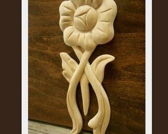 """Wood Applique - Decorative flower Applique- Small Flower Applique -Carved Wood - Small Carvings- pc- 5 """" H"""