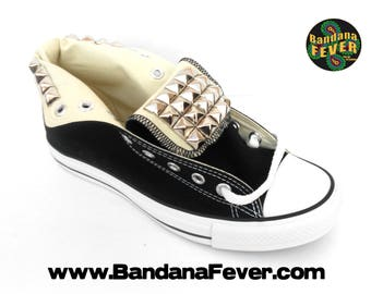 Custom Studded Converse Hi Black, FREE SHIPPING, #studded, #spiked, #blinged, #converse, #converseallstar, by Bandana Fever