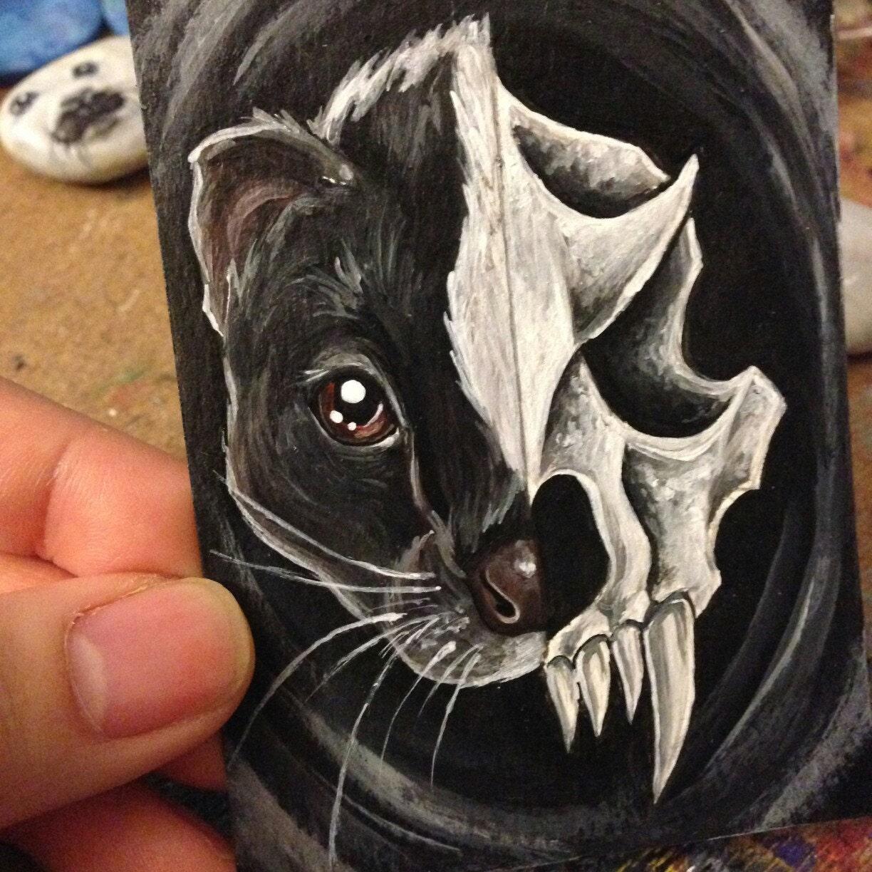 skunk print skull decor animal portrait faux taxidermy