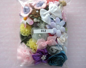 GRAB BAG, Assorted Appliques, Multi Combo for Sewing, Crafting, Scrapbooking Embellishment, Hair Accessories, Doll Clothes, 1 Bag, 2 oz, 012