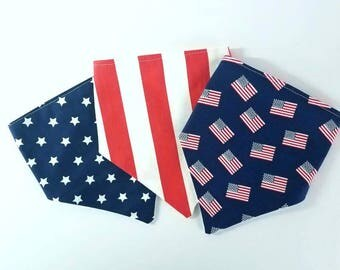 Fourth of July bib set, boys bib, Triangle bibs, july 4th bandana bib set, American flag bib, modern bib, modern baby gift, scarf bib