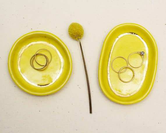 yellow and gold ring dish / trinket dish