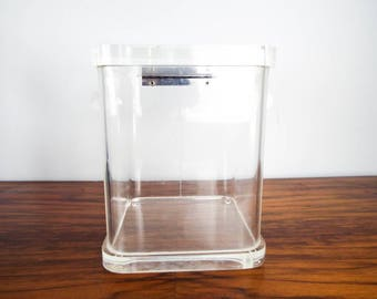 Vintage Grainware Acrylic Hinged Lid Square Kitchen Storage Canister, Unique Housewarming Modern Kitchen Decor Decoration Gift, Clear Jars