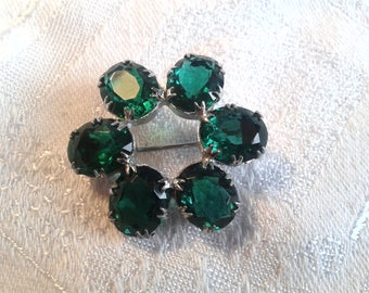 Vintage 60's Green Diamante Brooch. Christmas? St Patrick's Day?