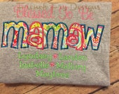 """Grandmother shirt for MAMAW Customized and Personalized """"Blessed to be"""""""