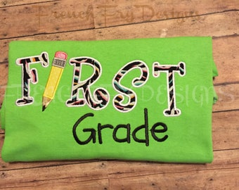First Grade Appliqued T-Shirt Customized