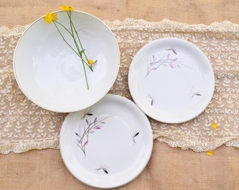 Mid Century Rosenthal China  'Geisha' 3257 Large Bowl and 2 Salad Plates, Botanical Print Gray and Pink Leaves, Made in Germany