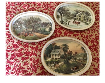 3 Vintage Currier And Ives Tin Plates,The American Homestead,Winter,Summer,Autumn,Seasons,Oval Tin Plate,Fabcraft,Collectible Tin Tray,