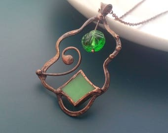 Wire jewelry, contemporary jewelry, stained glass necklace, wearable art, gift for women, green glass bead, artistic jewelry, boho style