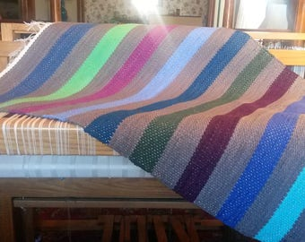 """Rag Rug - Hand-made - All Cotton - 28"""" x 36"""" - Cool Stripes"""