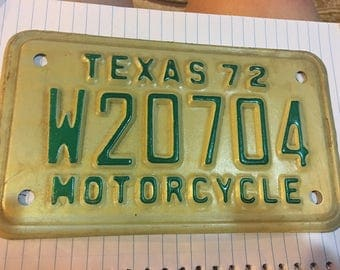 Texas 1972 motorcycle license plate