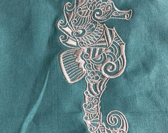 New Tea Kitchen towel embroidered Mehndi Seahorse