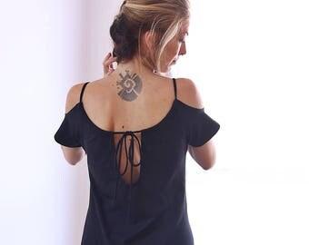 Off the shoulder dress, Boho dress, Open shoulder dress, Little black dress, Loose dress