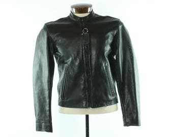 VANSON Black Leather Jacket NOS Motorcycle Biker Perforated Vintage Made in USA Medium M Coat Cafe Racer
