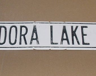 "Vintage White Washed TIN Madora Lake Rd. Street Sign Chippy Shabby Black Letters 30"" x 6""  Metal Road Sign"