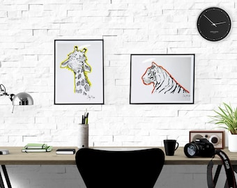 Signed Watercolor Prints, Giraffe and Tiger Set, 8.5x11inches, Children's room, nature drawing, animal art, kids bedroom art