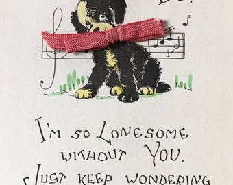 I am Lonesome Postcard antique