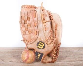 Old Vintage Leather Baseball Glove / Wilson Tom Gavin Baseball Glove / Antique Baseball Glove / Old Glove Antique Mitt / Baseball Decor