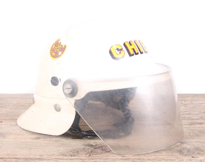 Featured listing image: Vintage White Fireman's Helmet / Fireman's Chief Helmet / Antique Fireman's Helmet / Fireman Party / Montevello Alabama Fire Department
