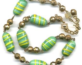 "Vintage Glass Bead Necklace Green & Yellow Swirl Lampwork 17"" Long"