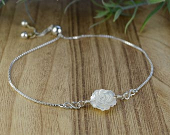 White Carved Rose Mother of Pearl Bead Adjustable Sterling Silver Interchangeable Charm/Link Bolo Bracelet- Charm, Bracelet Chain, or Both