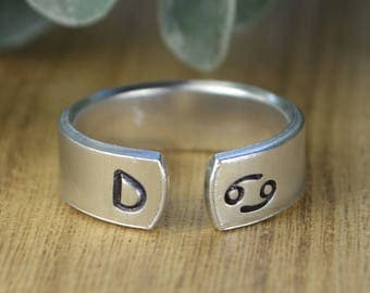ANY Initial and ANY Zodiac Sign Adjustable Ring- Hand Stamped Aluminum Ring  -Any Size 4, 5, 6, 7, 8, 9, 10, 11, 12, 13, 14  1/4 1/2 3/4