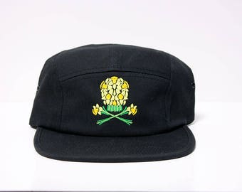 Daffodil Skull Hat / 5 Panel Cap / Five Panel Hat / Embroidered / Black / Floral / Flowers